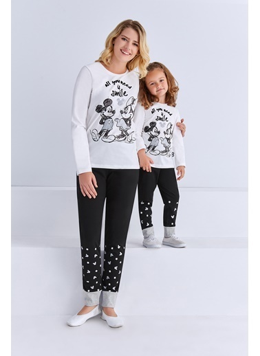 Mickey Mouse Mickey & Minnie Mouse Lisanslı Kız Çocuk Pijama Takımı Açık Pembe Krem